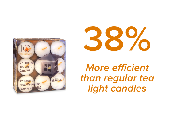 JOI Candles 38 percent more efficient than regular candles